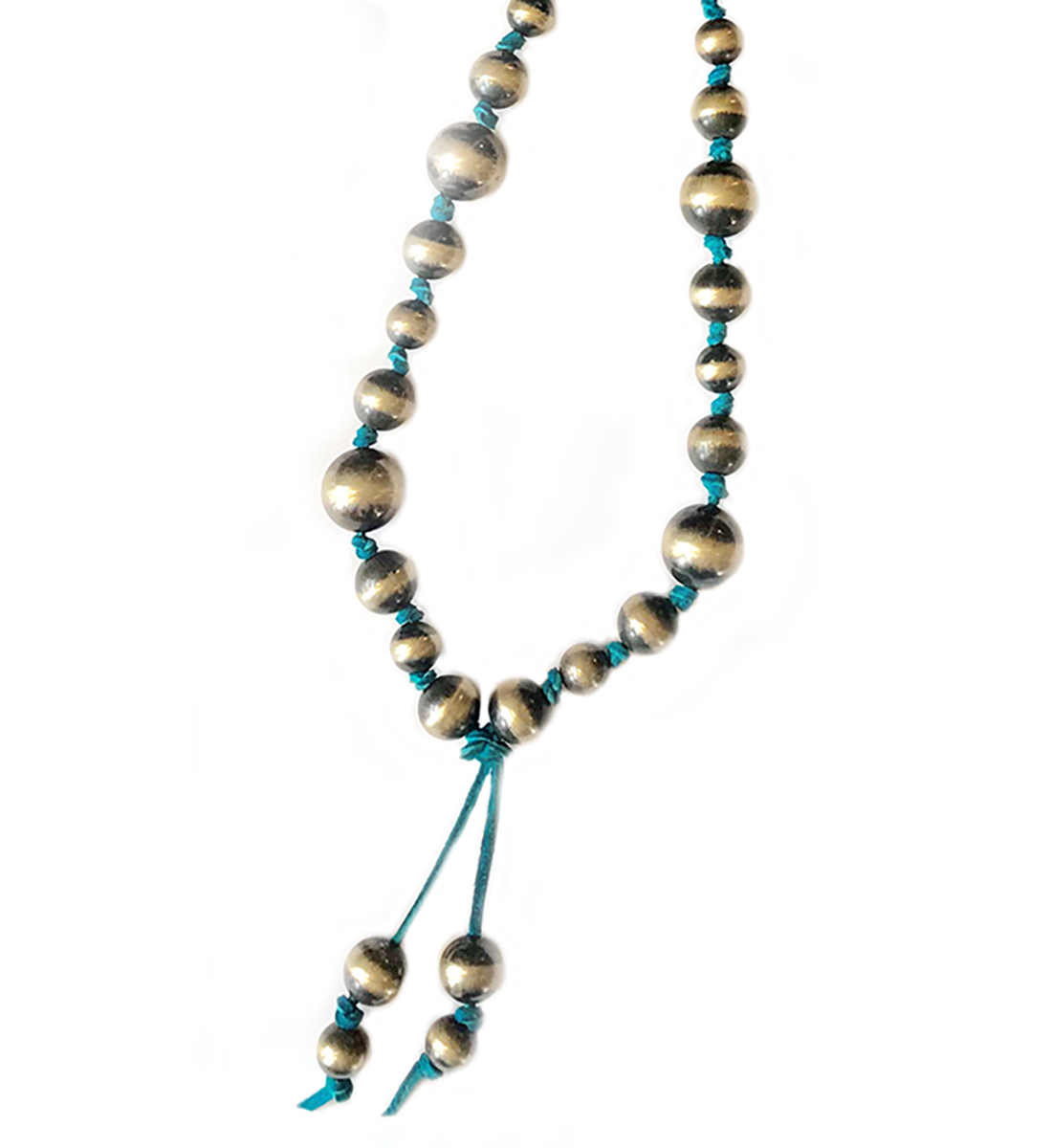 Silver Beads On Turquoise Leather Necklace