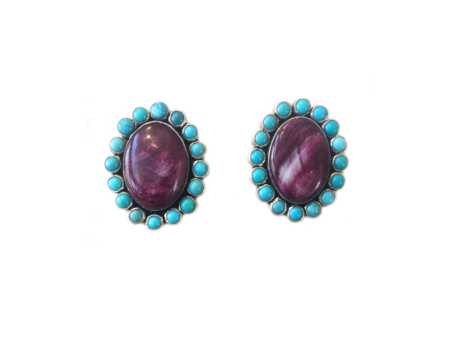 Purple Spiny Oyster Turquoise Earrings