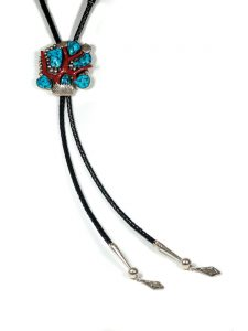 Kingman turquoise bolo tie with branch coral