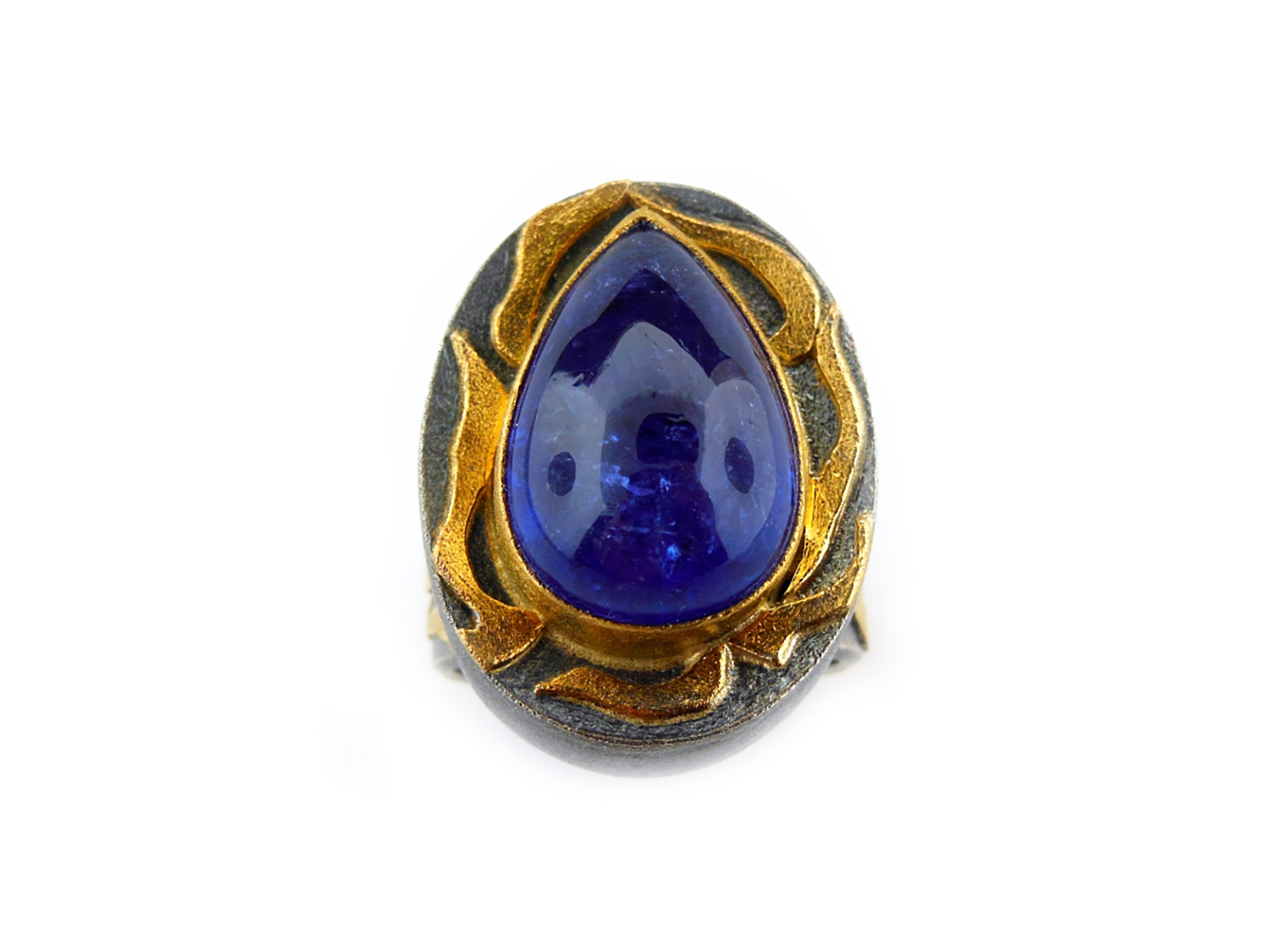 Gold Silver Tanzanite Ring