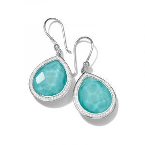 Teardrop Earrings in Sterling Silver with Diamonds