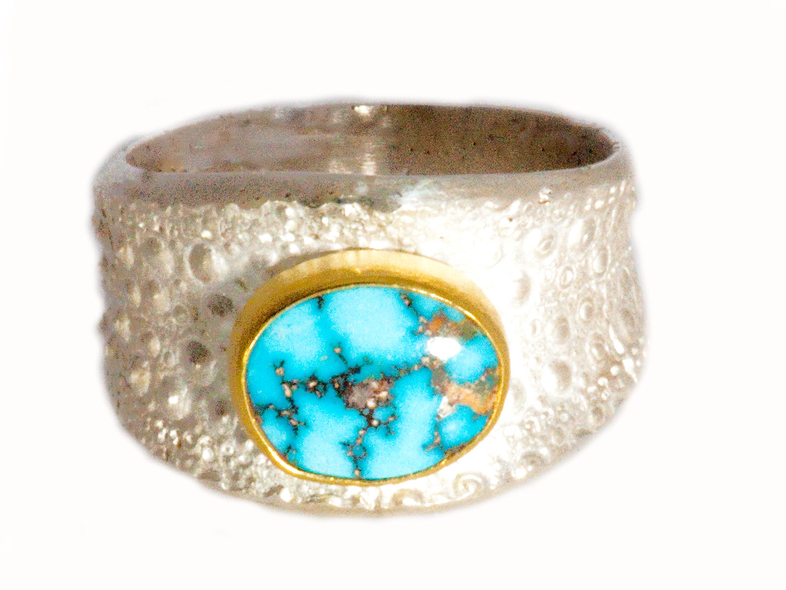 Silver Gold Kingman Turquoise Ring