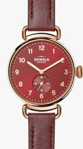 Canfield 38mm Burgandy Dial Watch