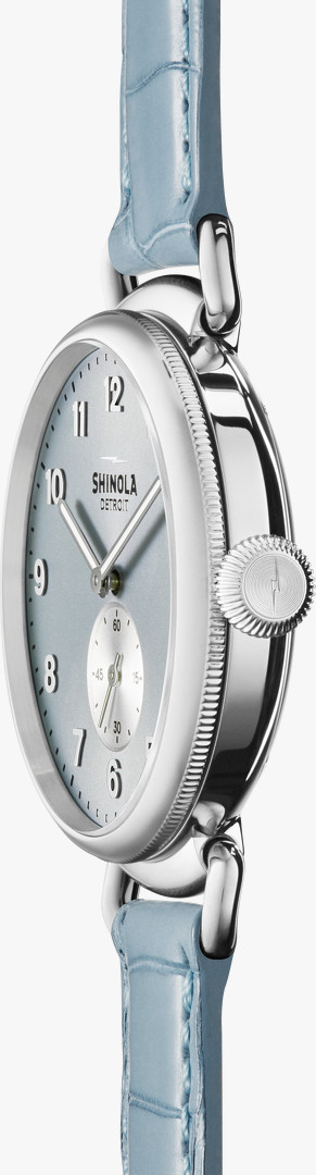 Canfield 38mm Powder Blue Dial Watch side view