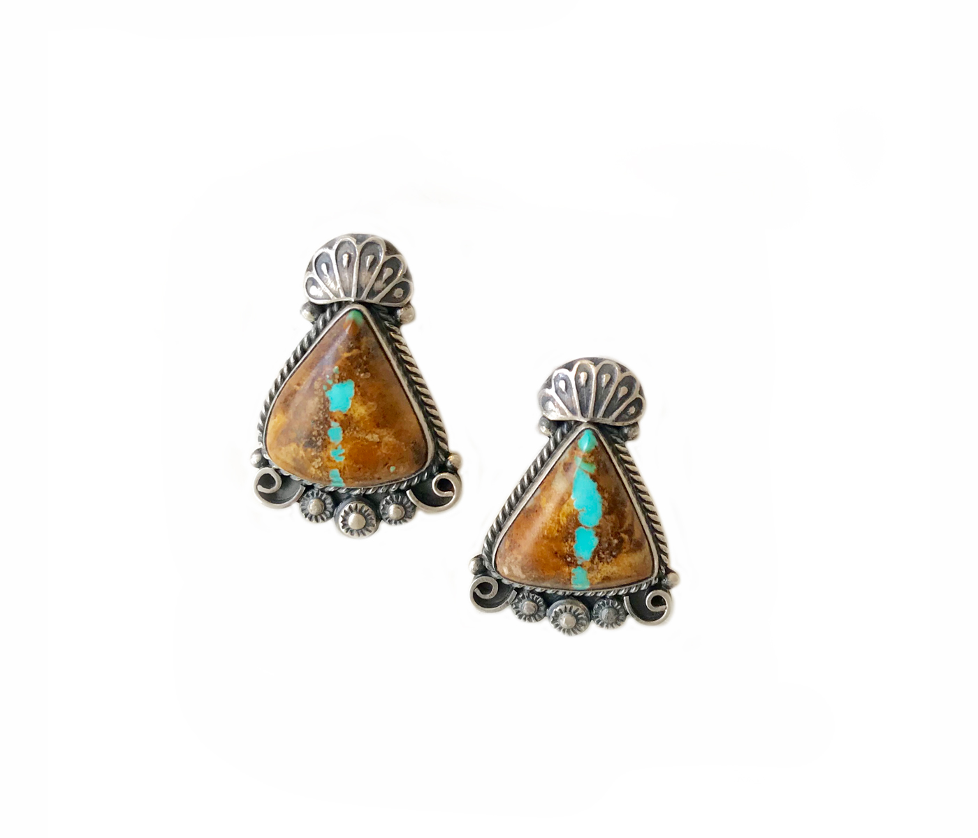 Royston Boulder Turquoise Silver Earrings