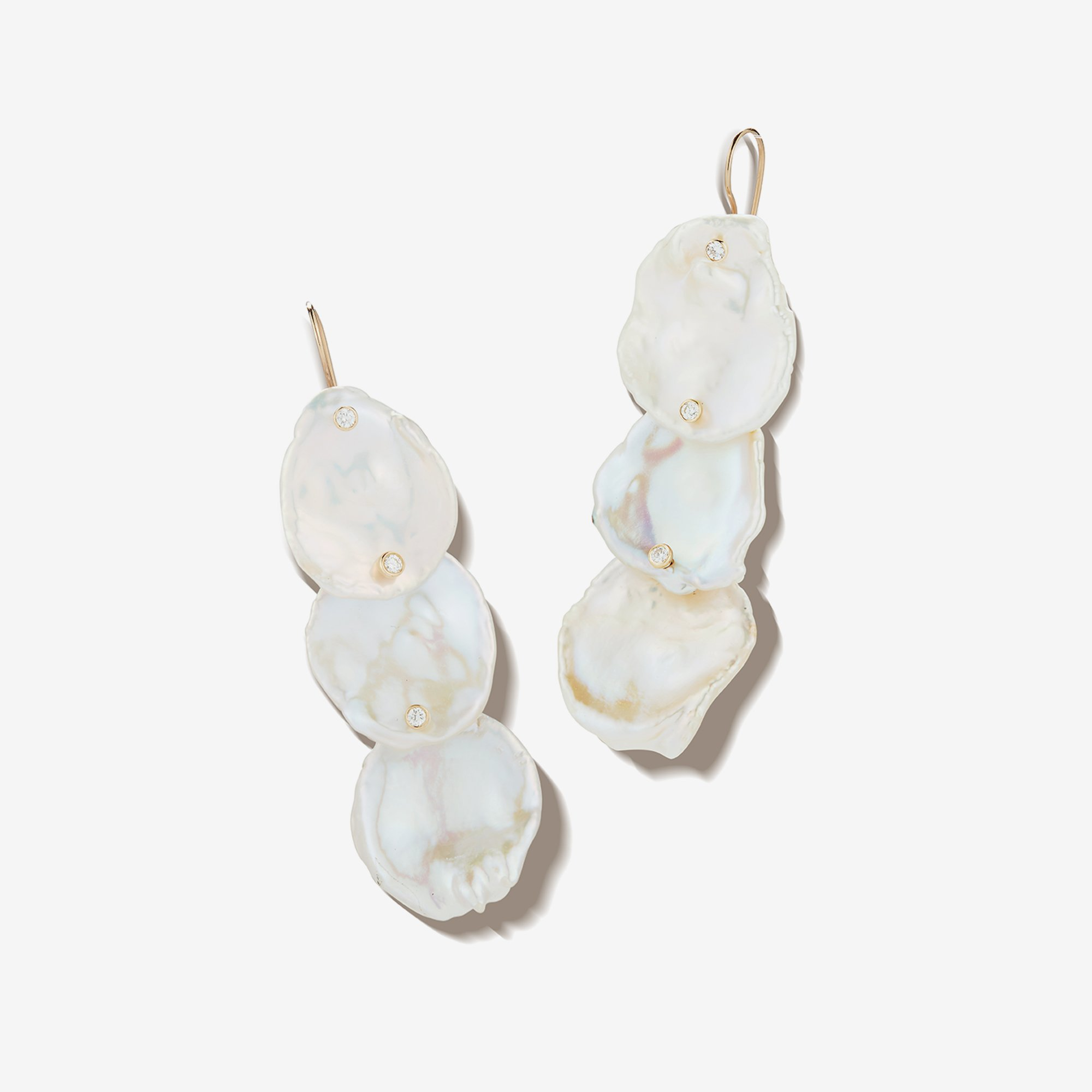 Triple Petal Pearl Diamond Earrings