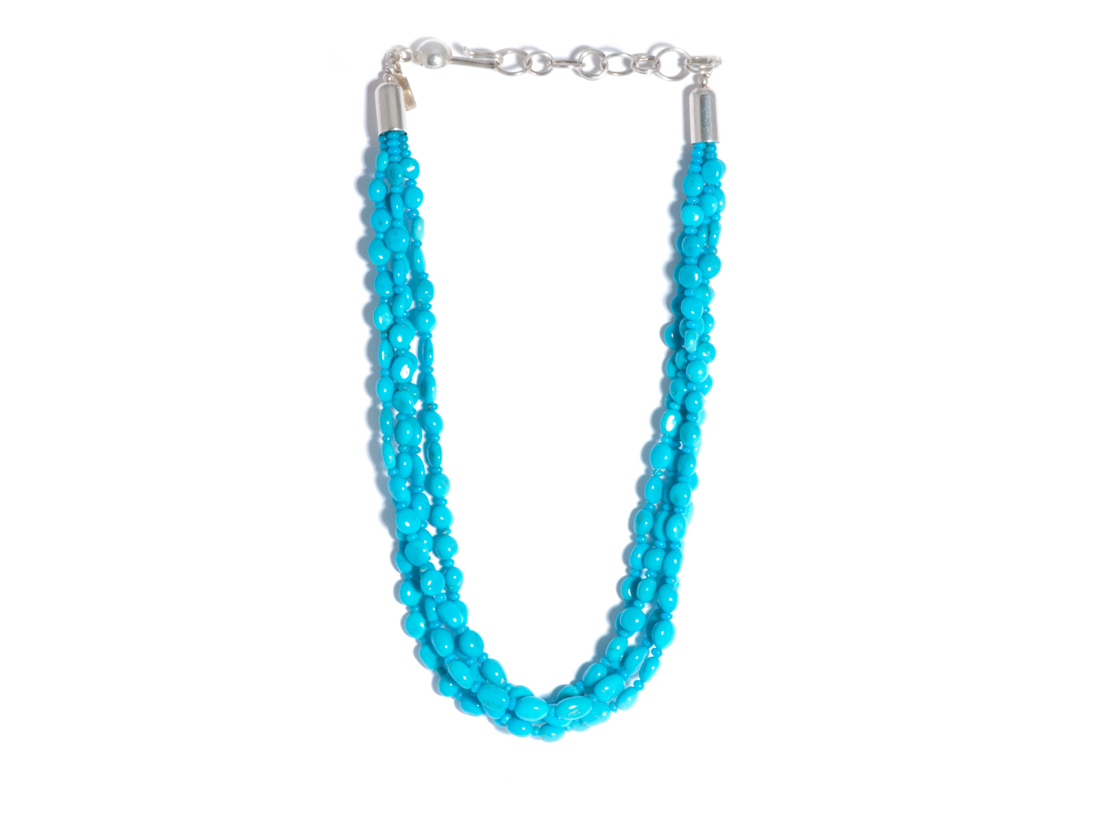 4 Strand Sleeping Beauty Turquoise Beaded Necklace