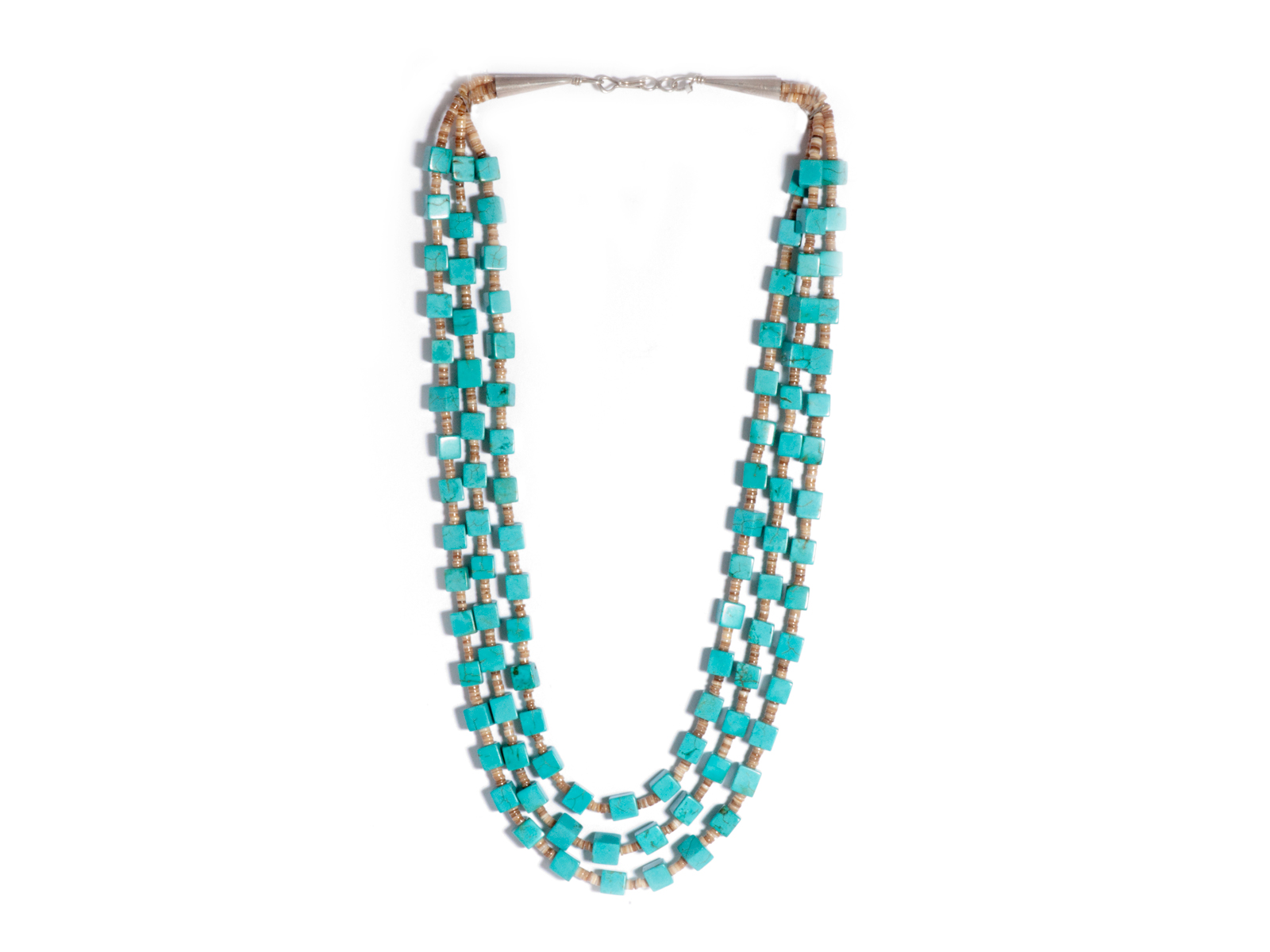 3 Strand Kingman Turquoise Cube Bead Necklace