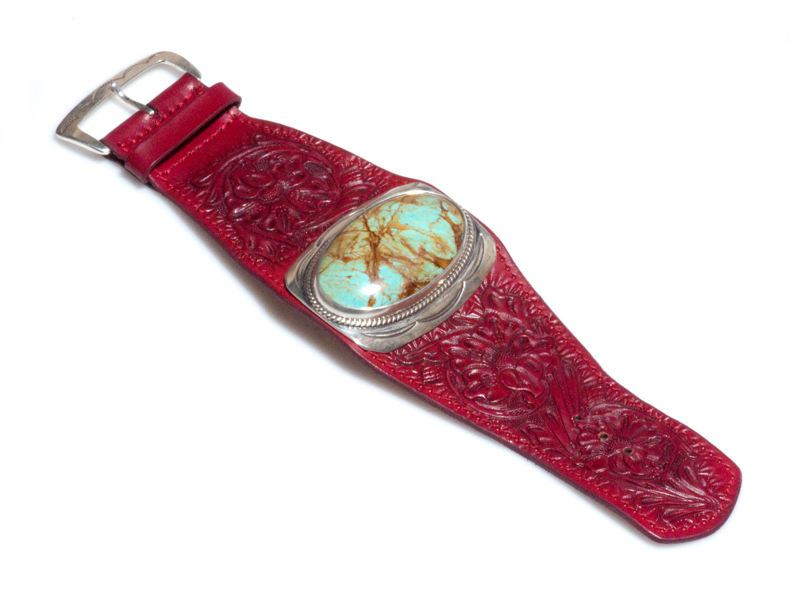 Hand Tooled Red Leather Kingman Turquoise Bracelet