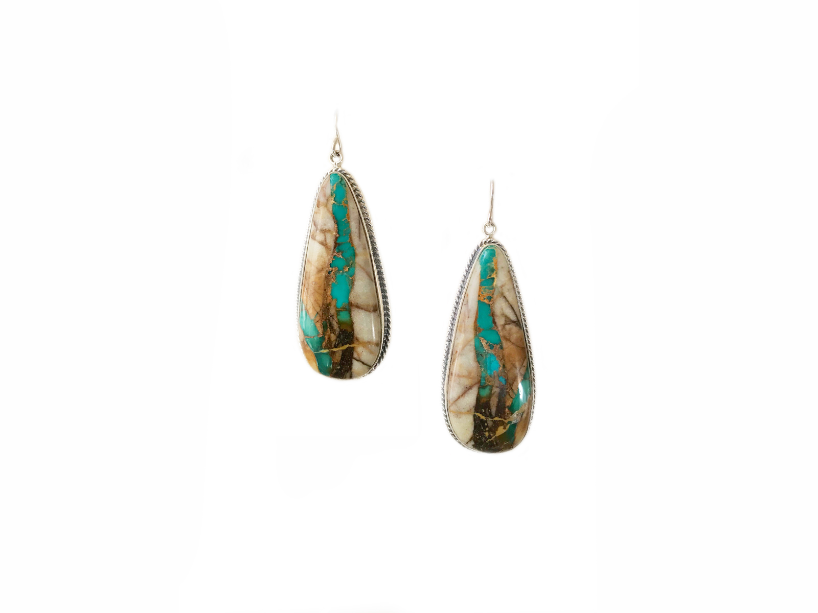 Ribbon Turquoise Tear Drop Dangle Earrings