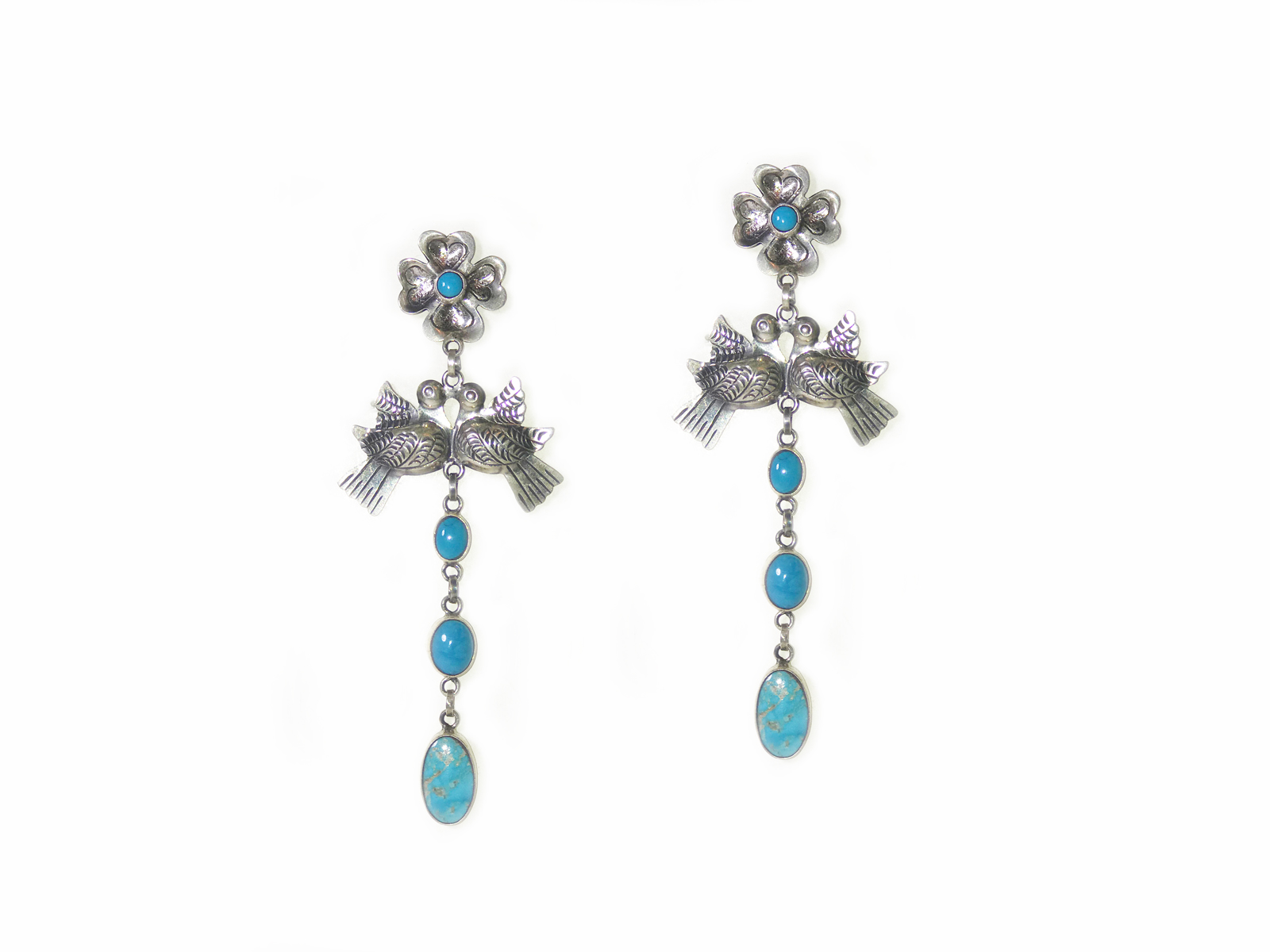 Silver Turquoise Bird Earrings