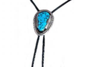 Kingman Turquoise Silver Bolo Tie