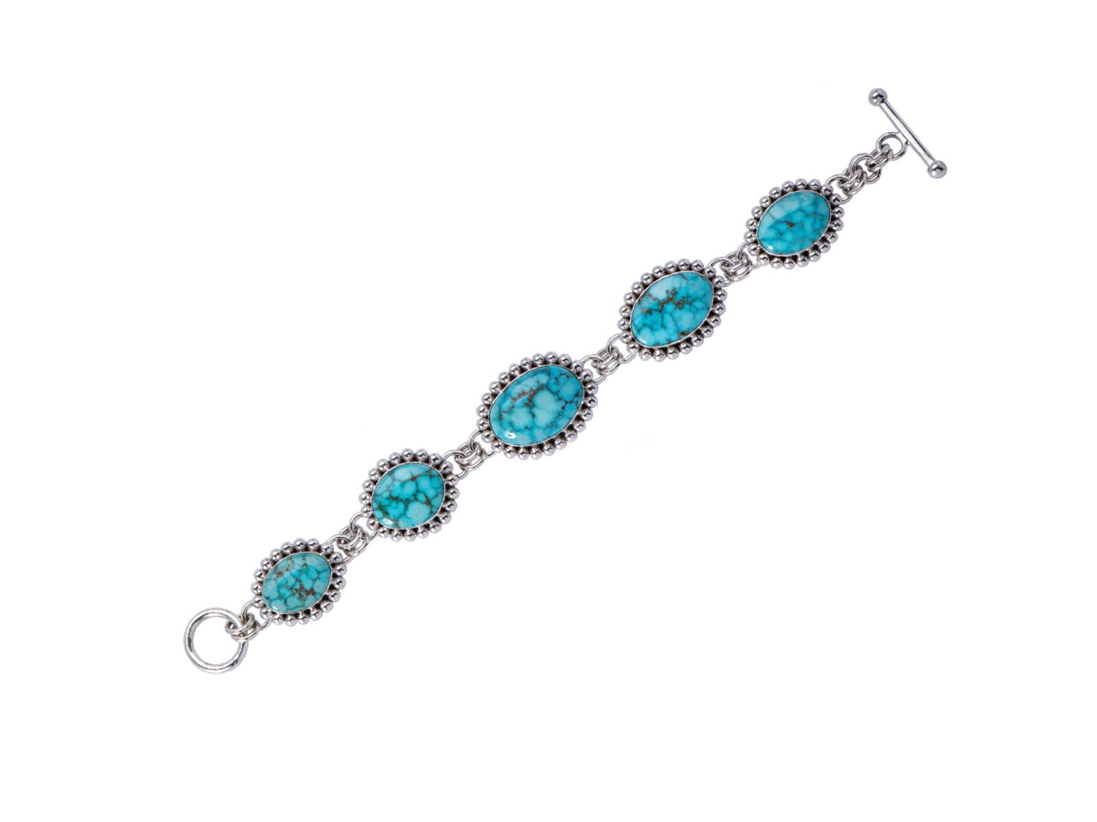 Kingman Turquoise Silver Link Bracelet