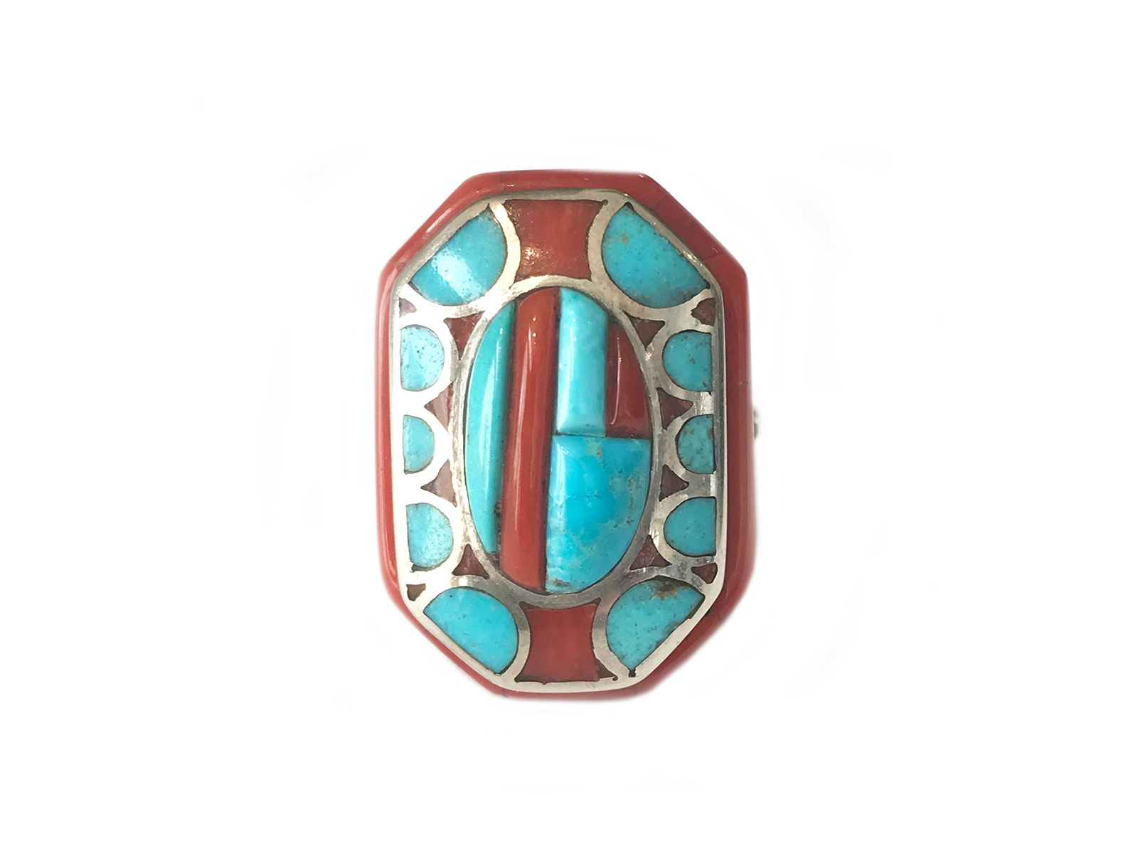 Natural Morenci Coral Inlay Ring