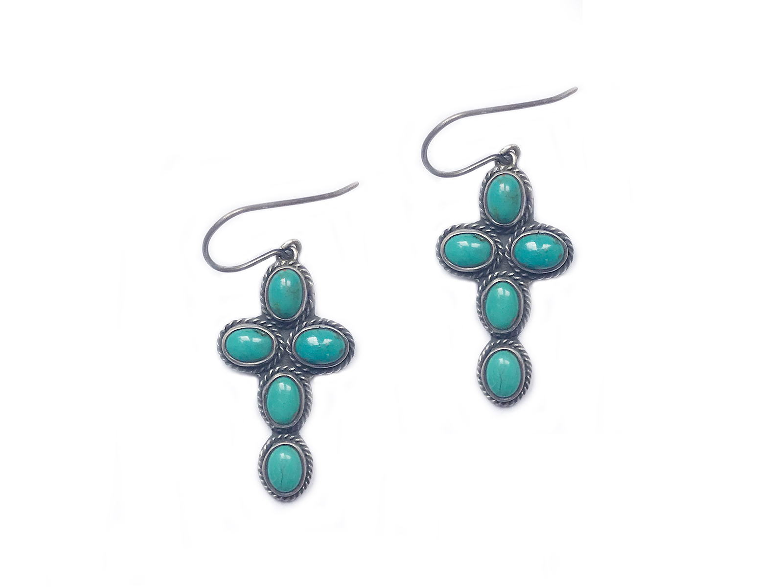 5 Stone Turquoise Cross Earrings