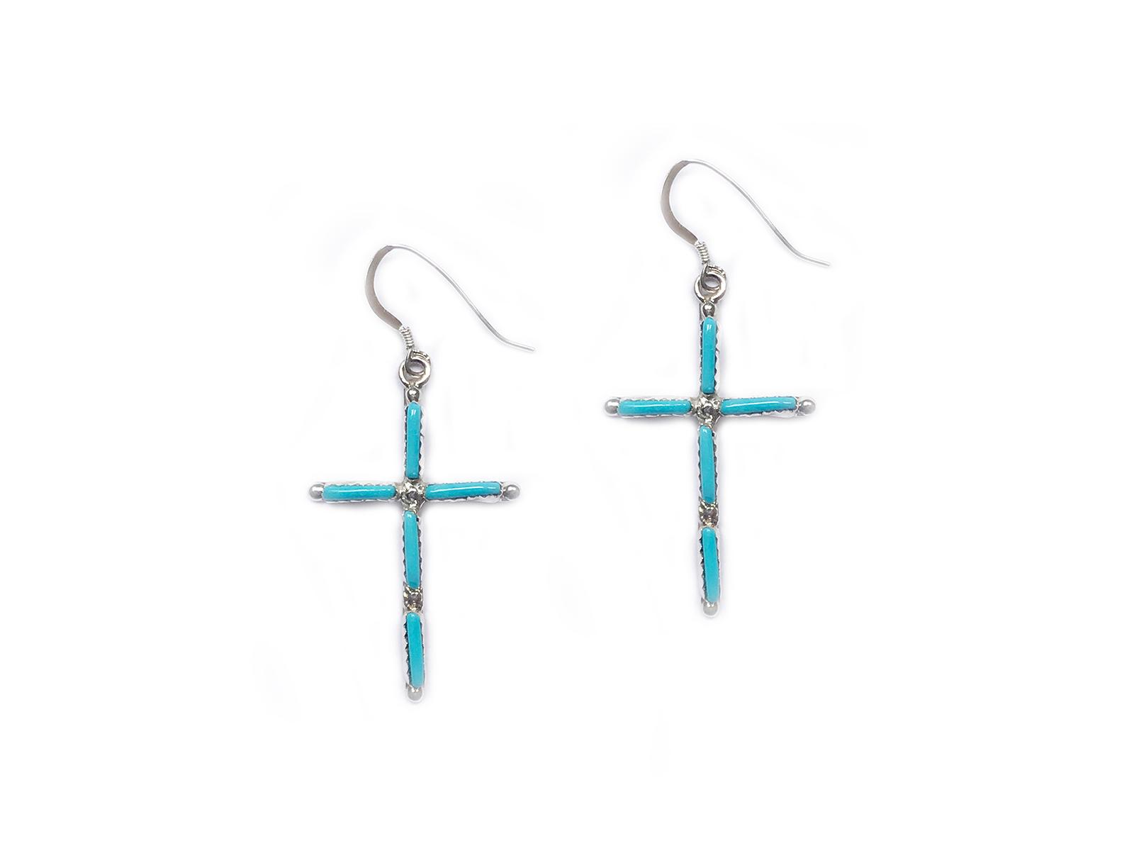 90a579623 Sleeping Beauty Turquoise Cross Earrings handmade by Katherine Qualo