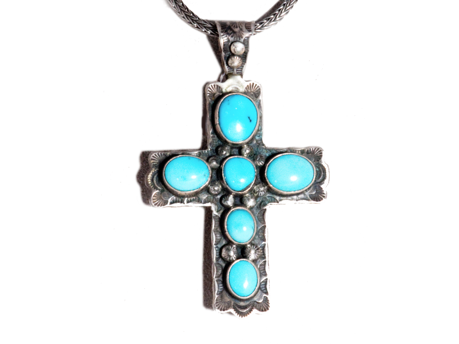 Turquoise cross pendant by native american vivian barbone turquoise cross pendant aloadofball Images