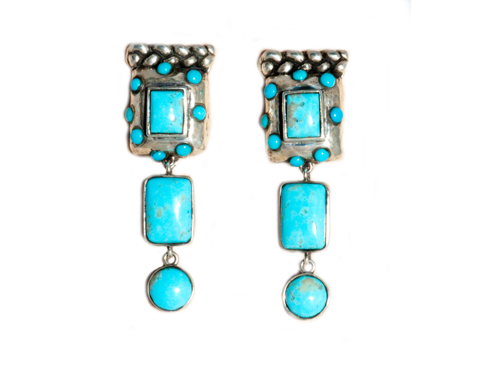 Multi Stone Kingman Turquoise Dangle Earrings