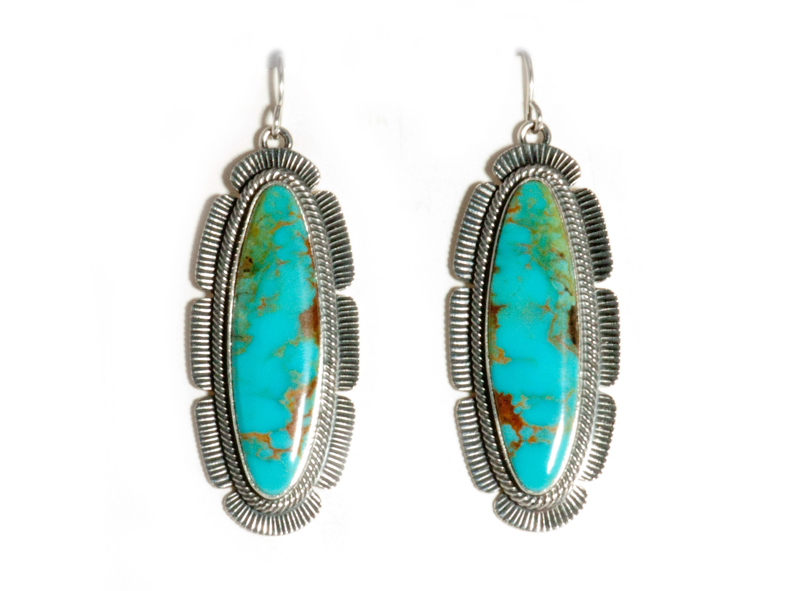 Stamped Turquoise Dangle Earrings