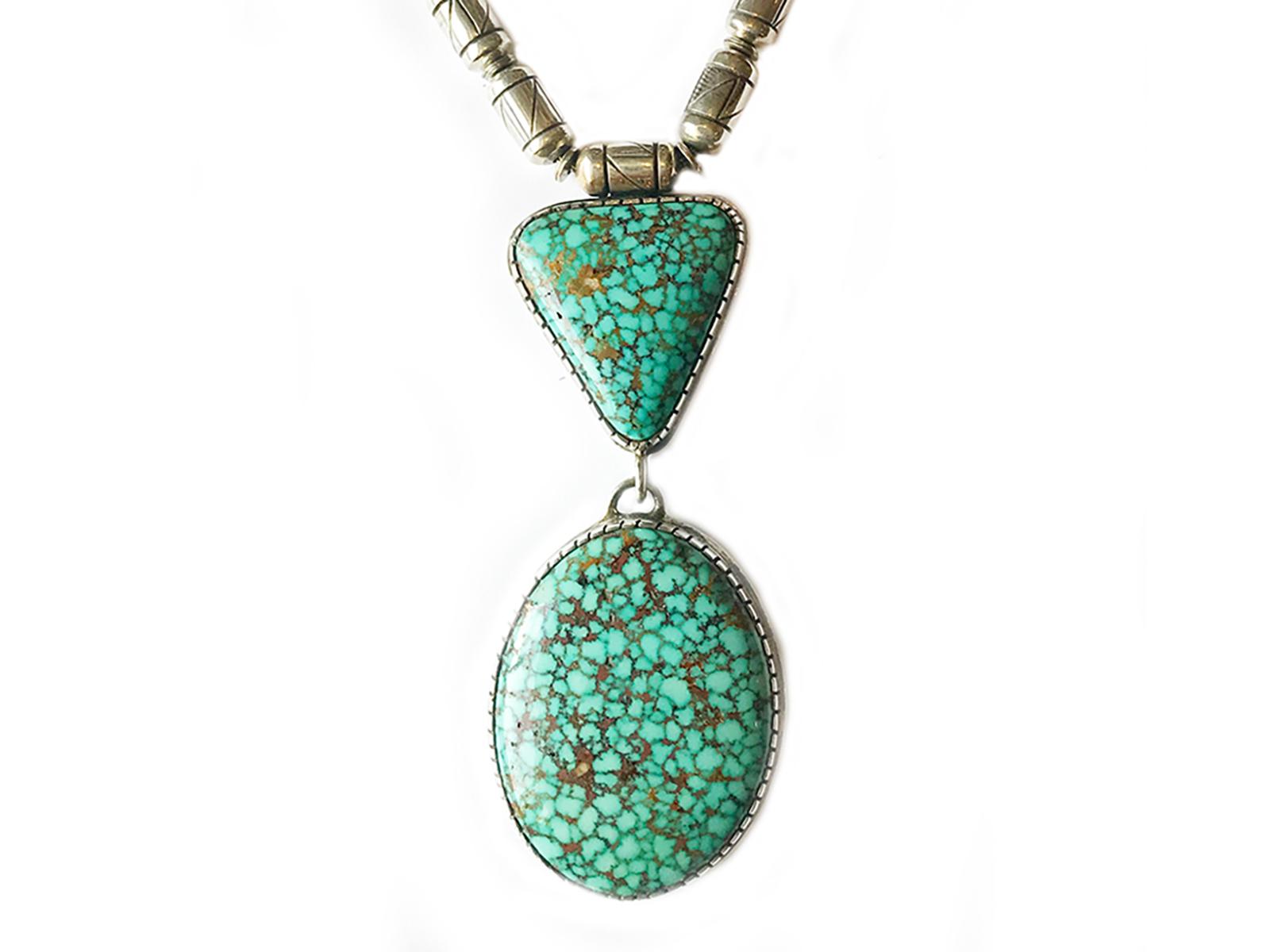 Spiderweb Kingman Turquoise Necklace