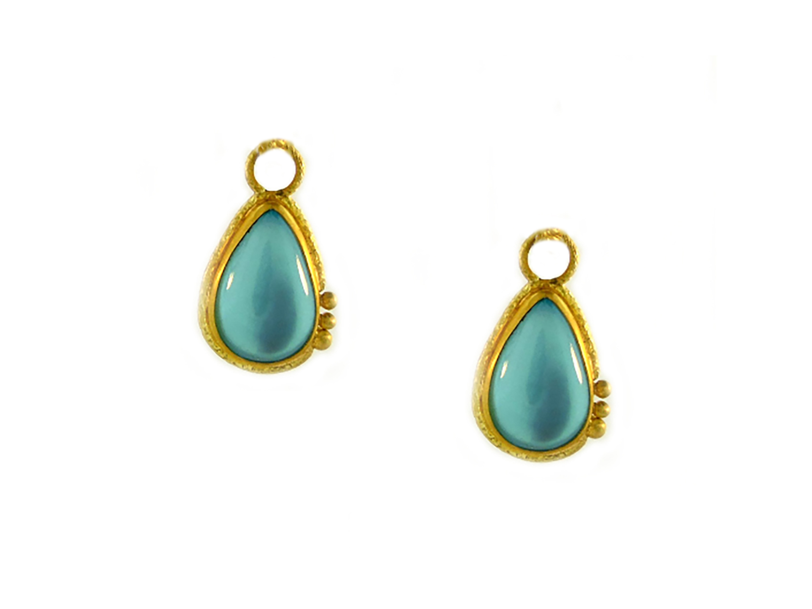 Gold Aquamarine Ear Charms