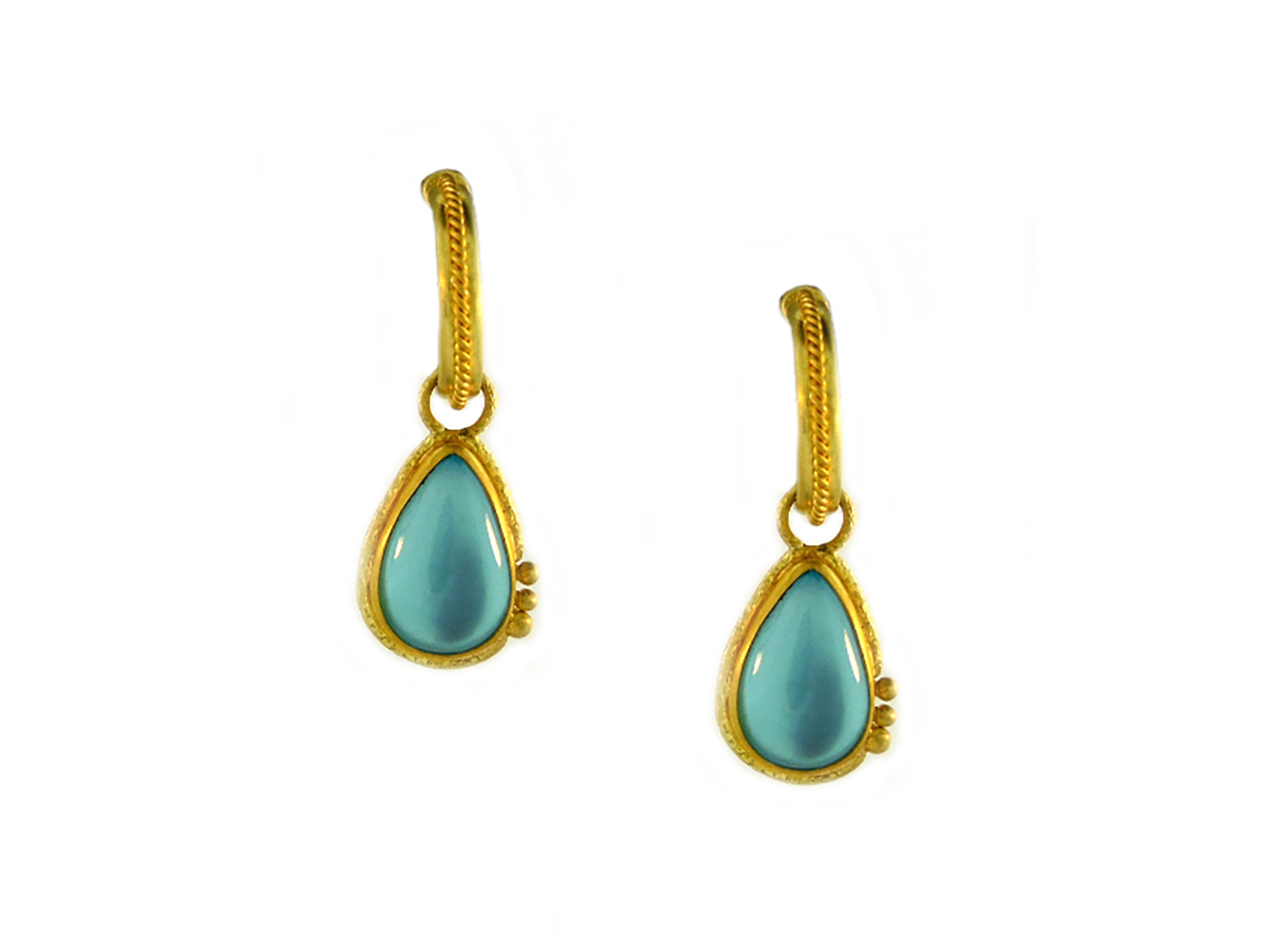Gold Aquamarine Dangle Earrings
