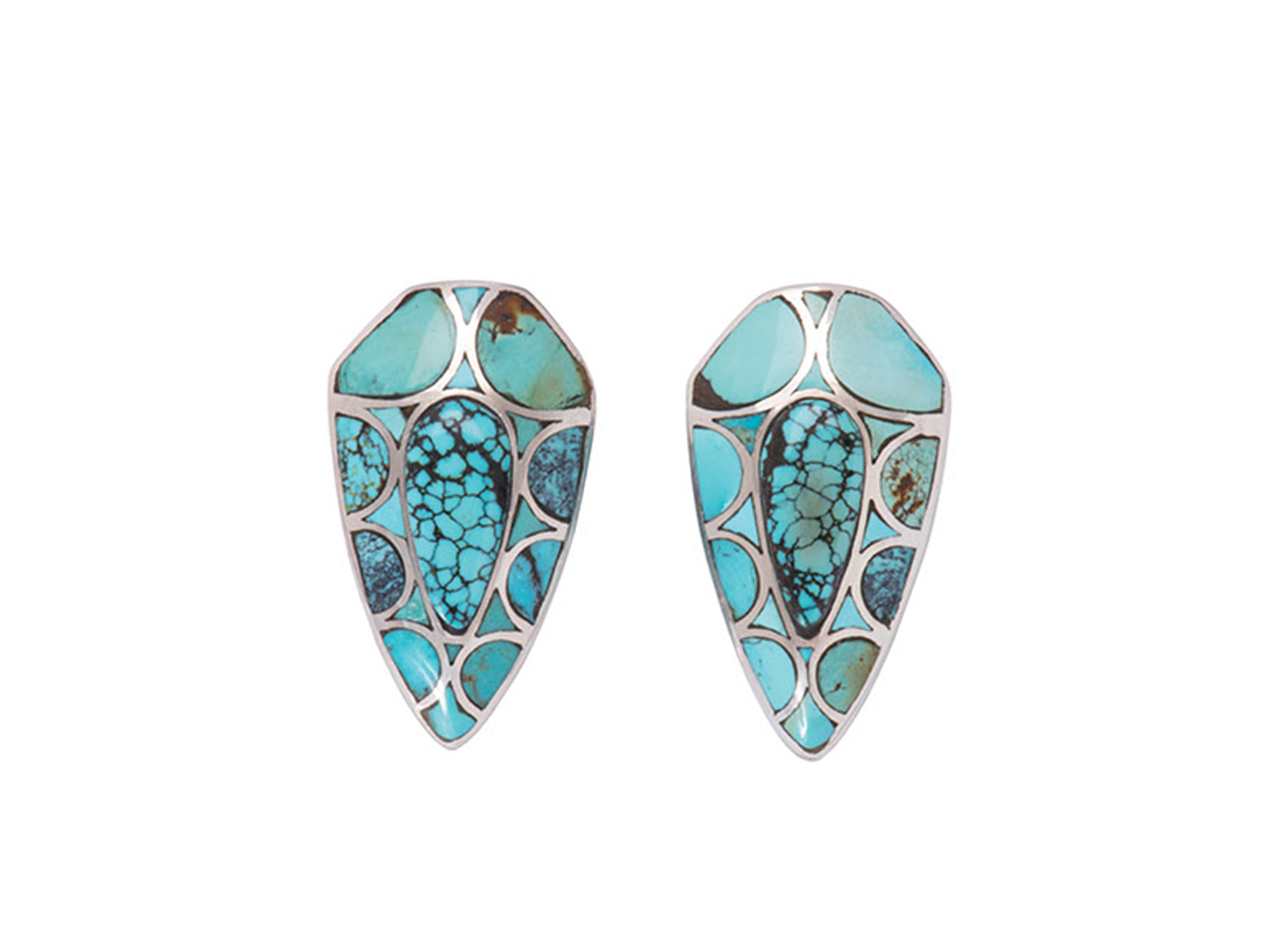 Natural Chinese Turquoise Inlay Earrings