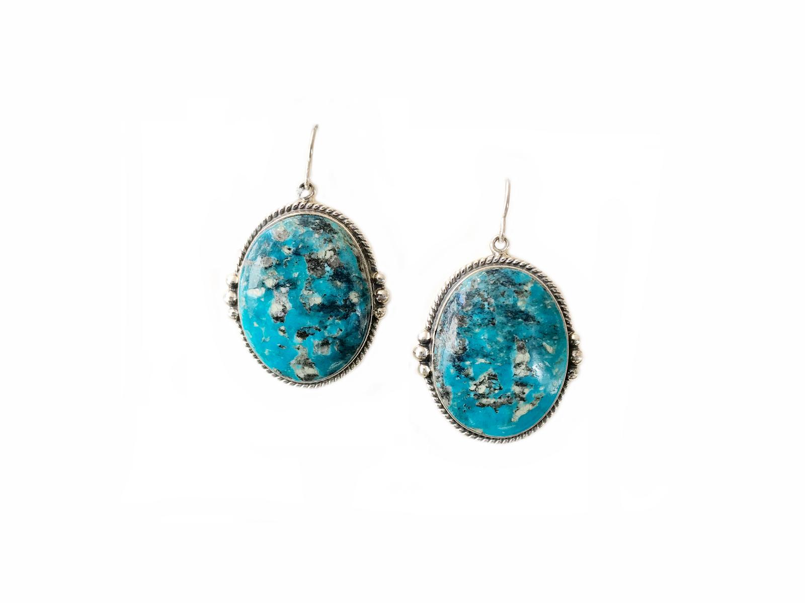 Kingman Oval Silver Dangle Earrings