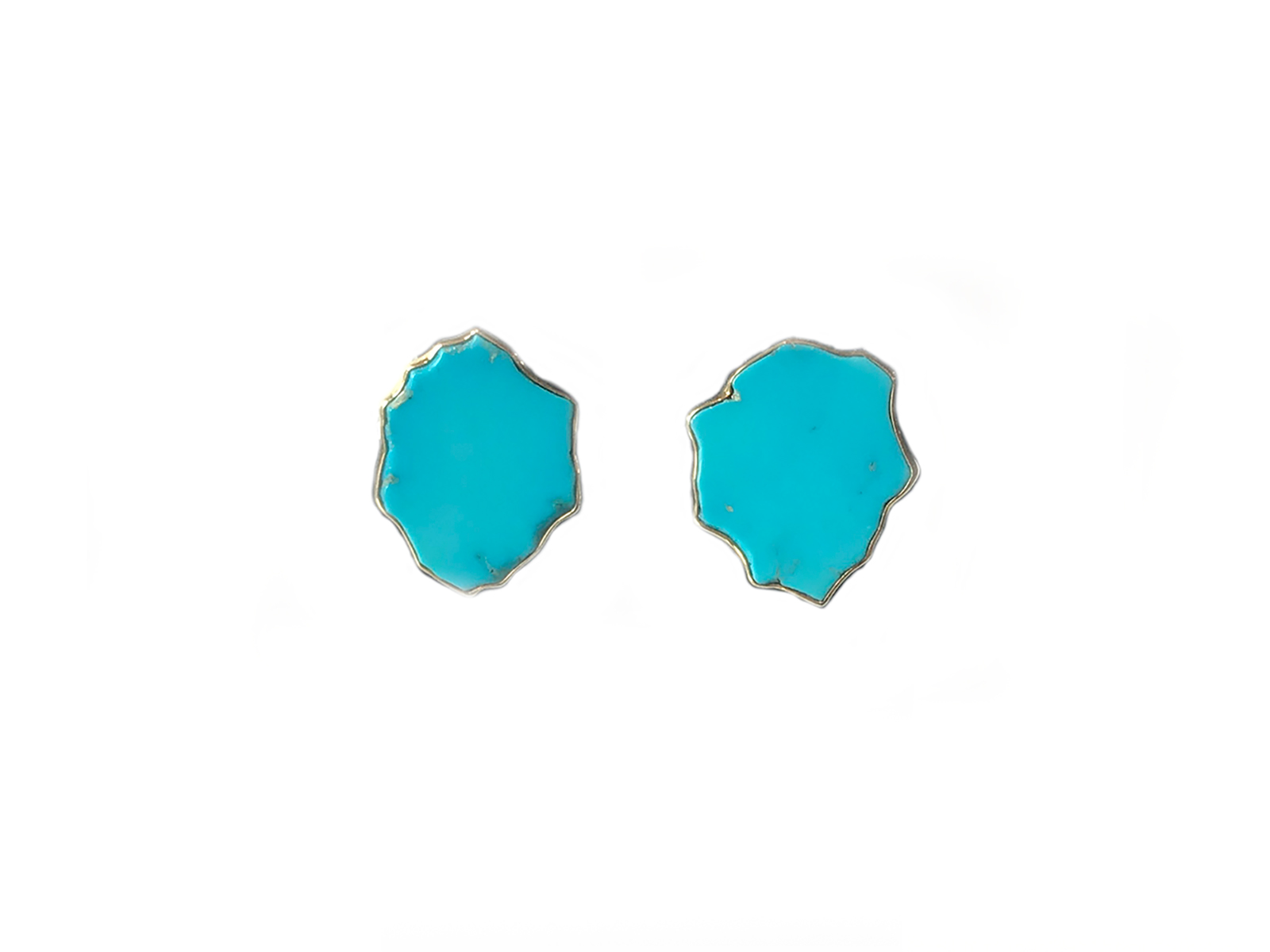 Natural Sleeping Beauty Turquoise Gold Earrings