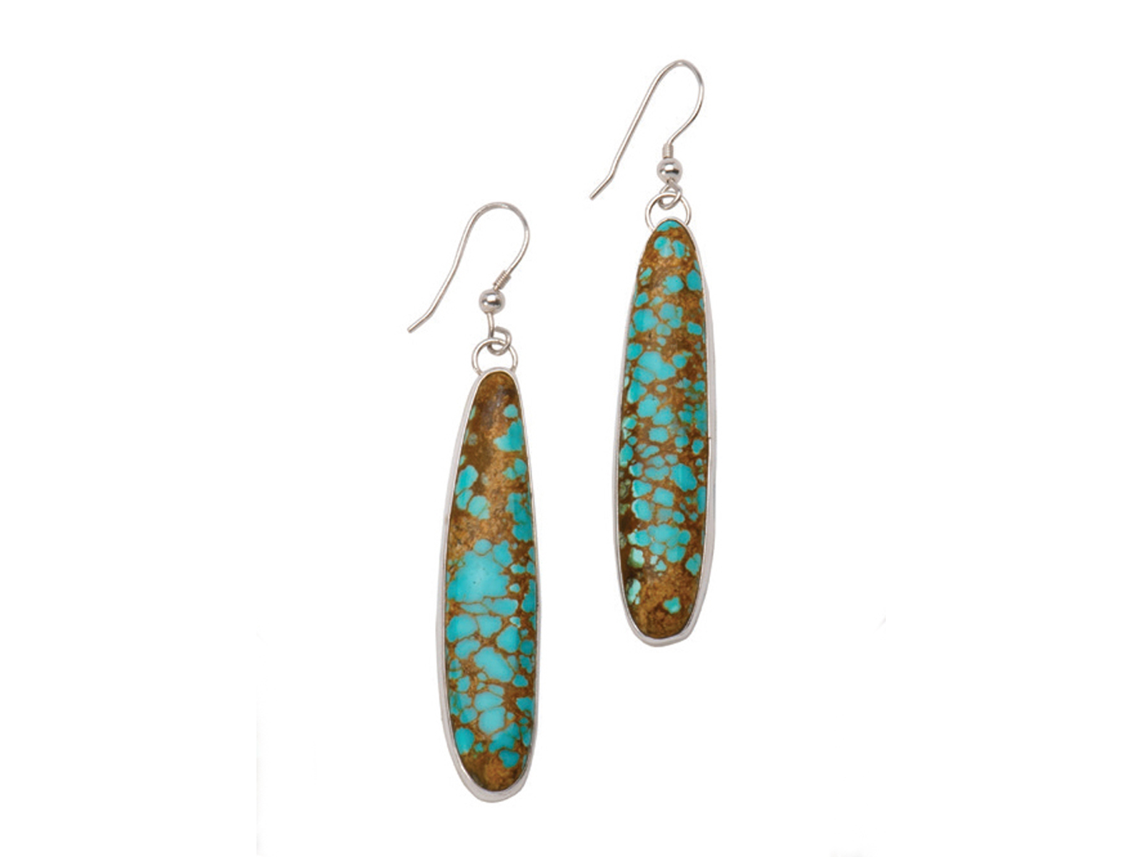 Silver Number 8 Turquoise Dangle Earrings