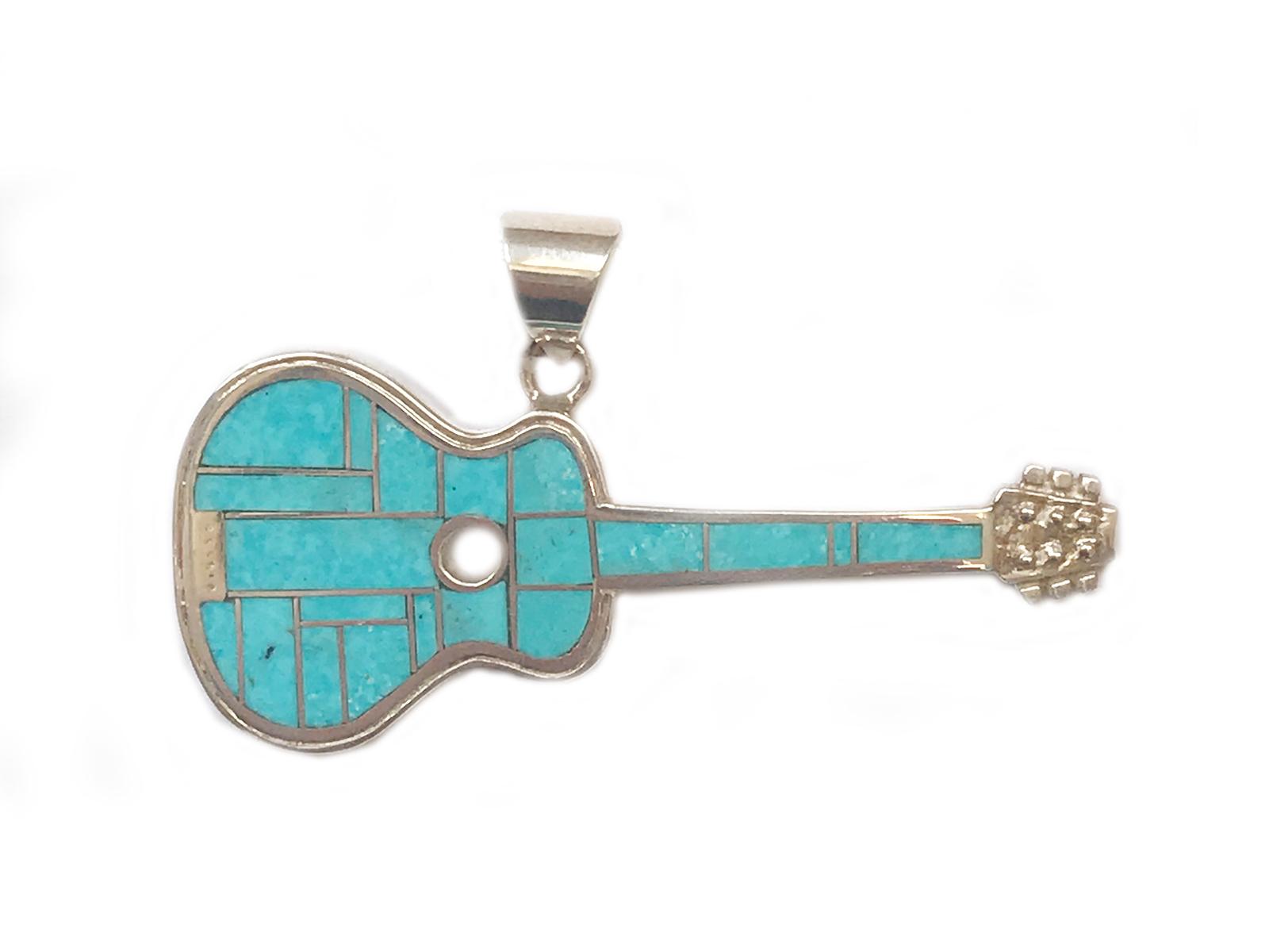 Kingman Turquoise Inlay Guitar Pendant