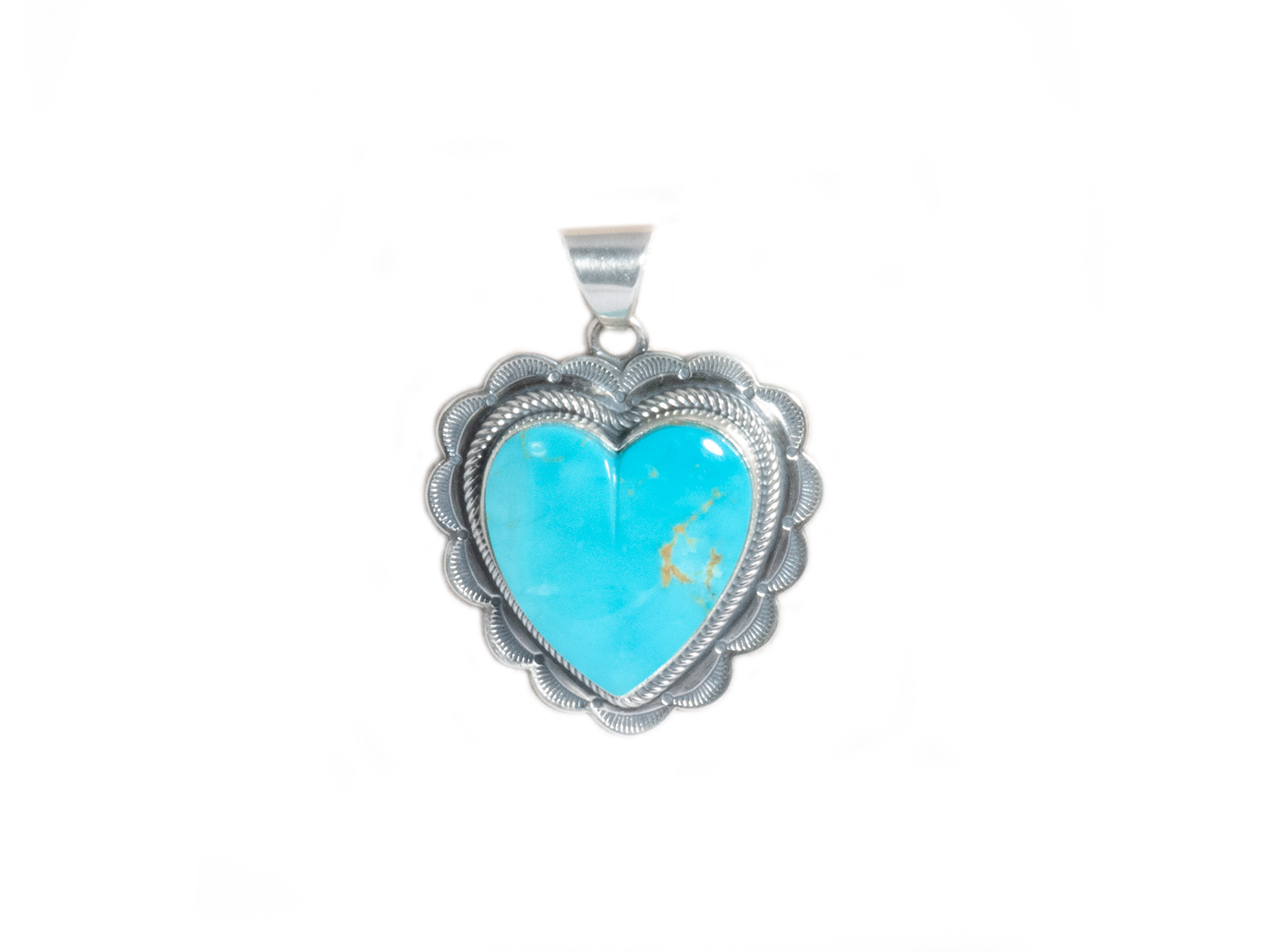 Kingman Turquoise Silver Stamped Heart Pendant