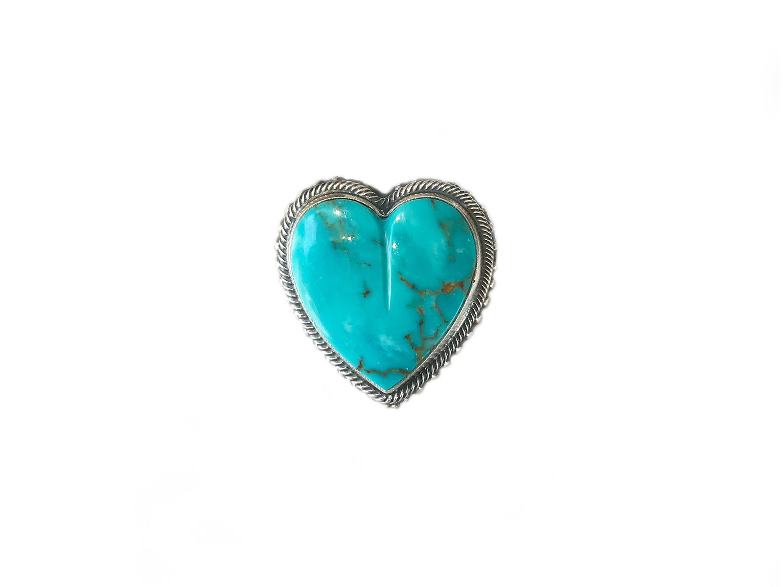Silver Kingman Turquoise Heart Ring