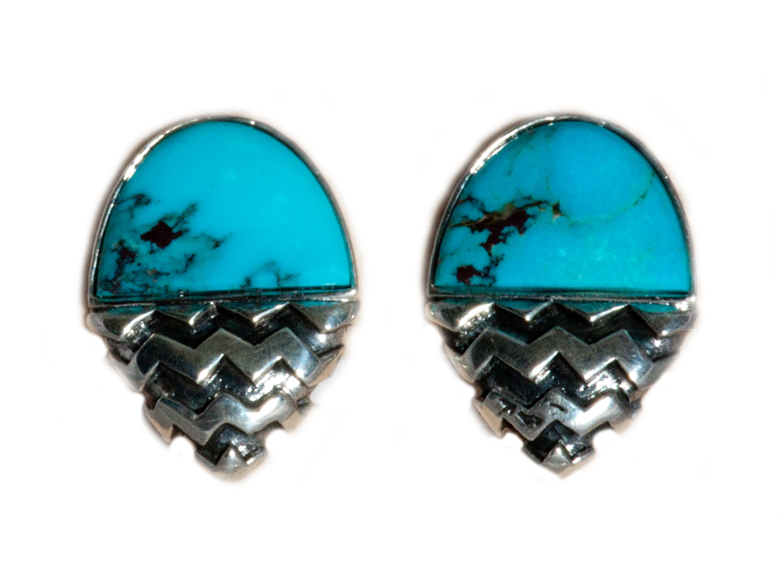 Kingman Turquoise Chevron Clip On Earrings