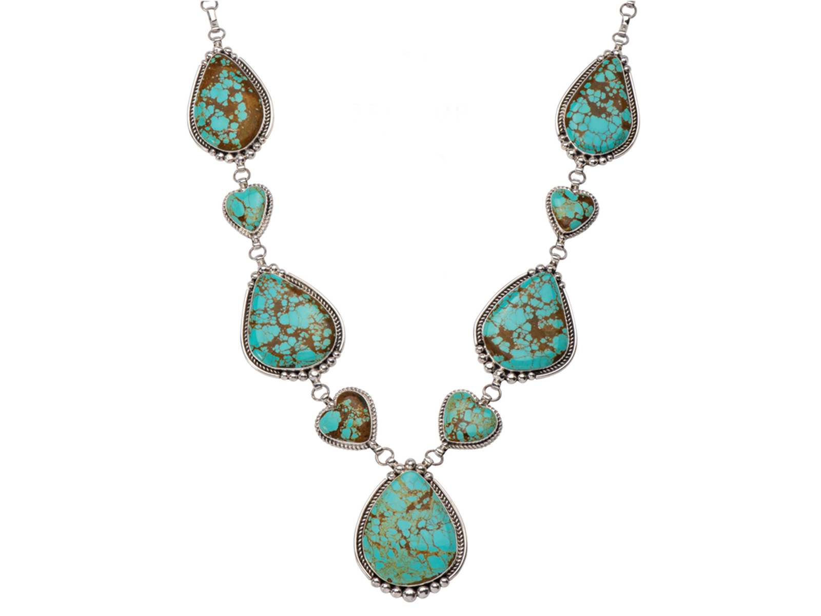 Silver Number 8 Turquoise Statement Necklace