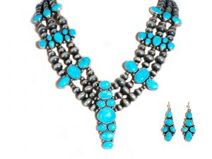 Kingman Turquoise Necklace and Earrings