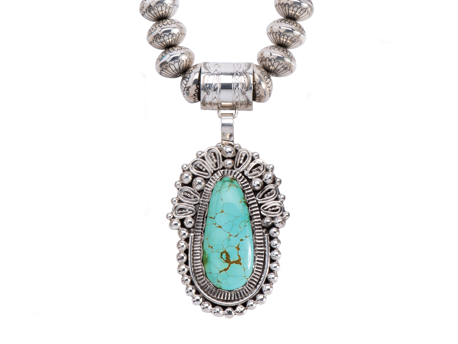 Large Royston Turquoise Silver Pendant