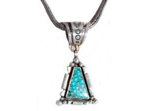 Silver Indian Mountain Turquoise Pendant