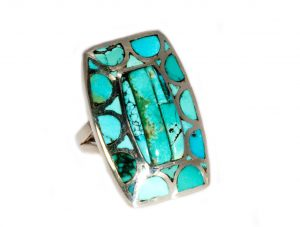 Natural Chinese Turquoise Rectangular Ring
