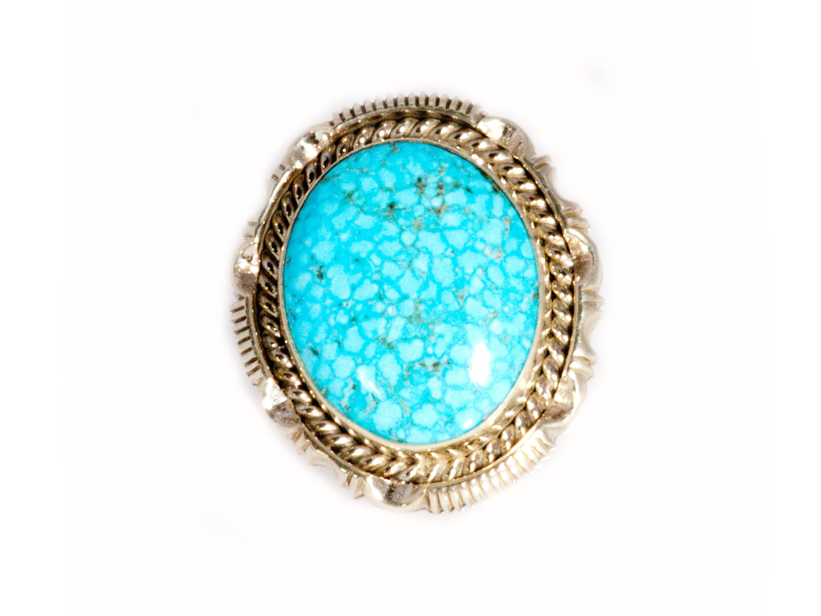 Spiderweb Kingman Turquoise Ring By Artie Yellowhorse