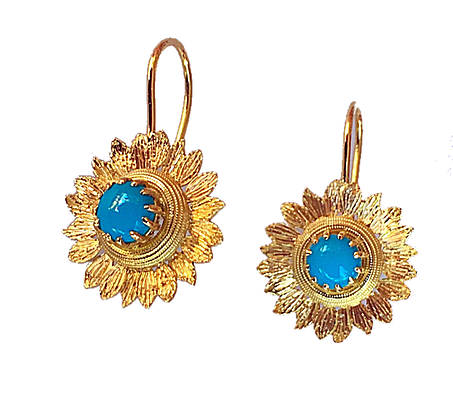 Turquoise Sunflower Earrings