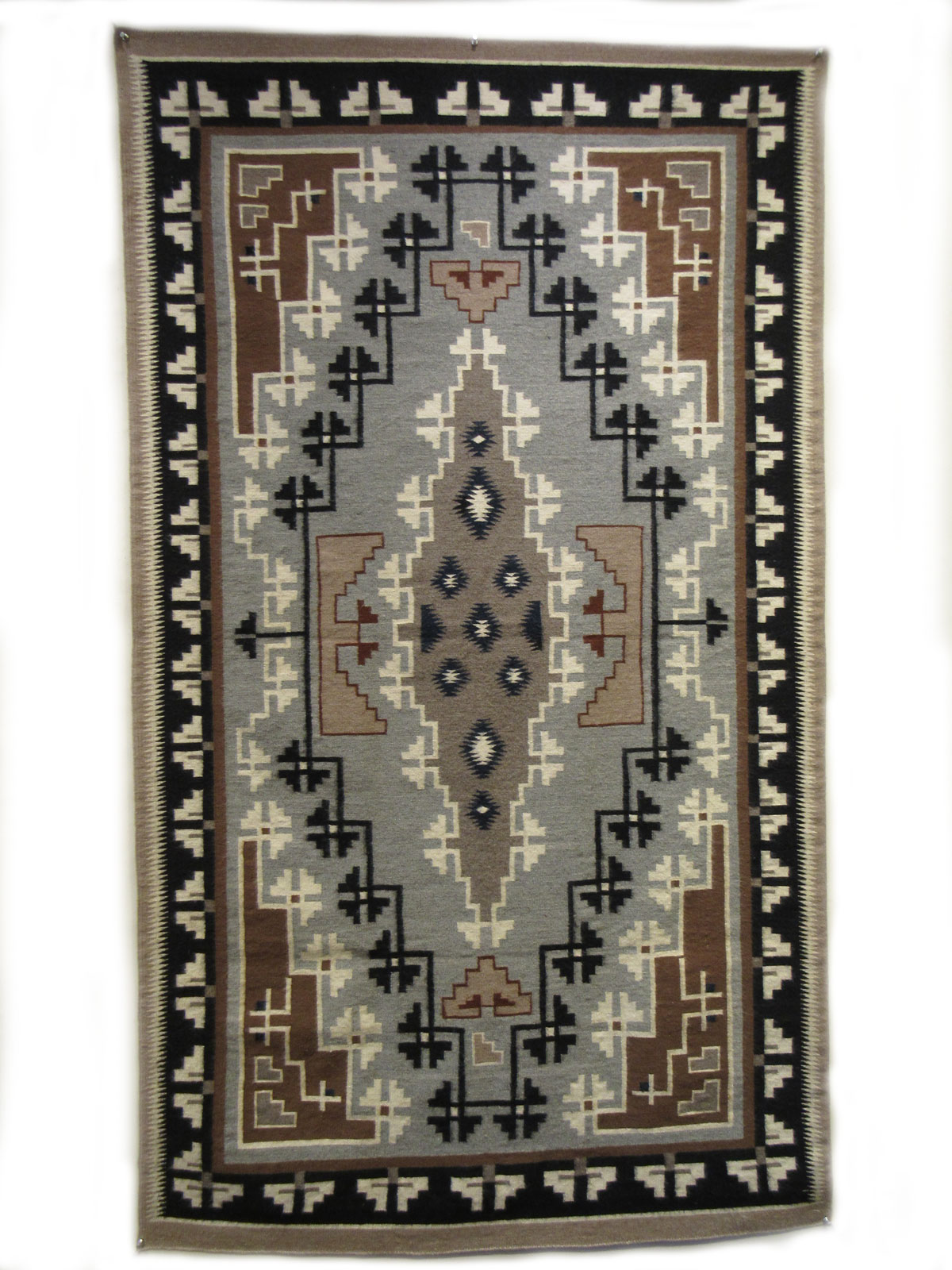 Two Grey Hills Navajo Weaving Handwoven With 100 Wool