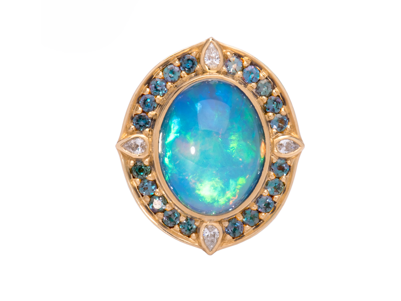 Blue Peacock Ethiopian Opal Ring