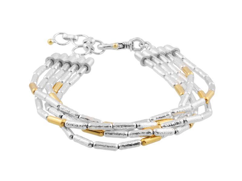 5 Strand Vertigo Silver Gold Bracelet