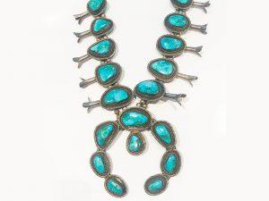 Vintage Blue Diamond Turquoise Squash Blossom