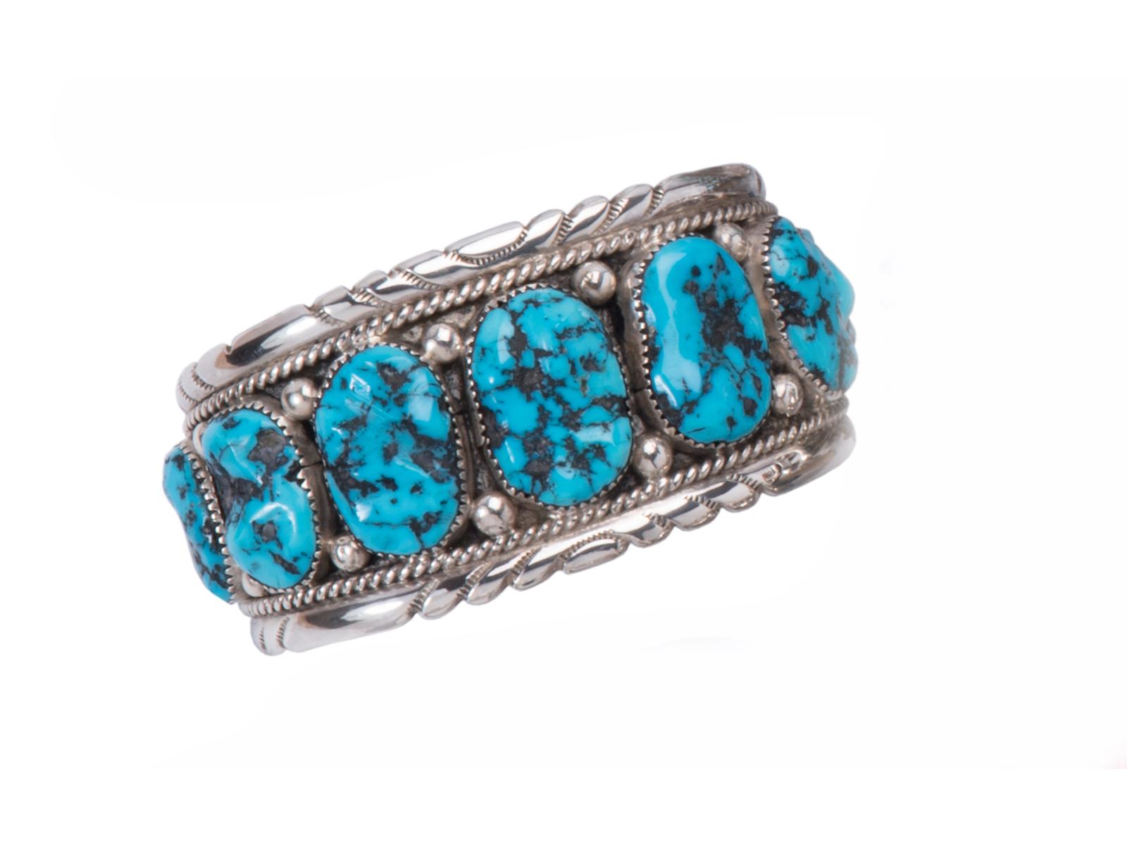 11 Stone Kingman Turquoise Cuff