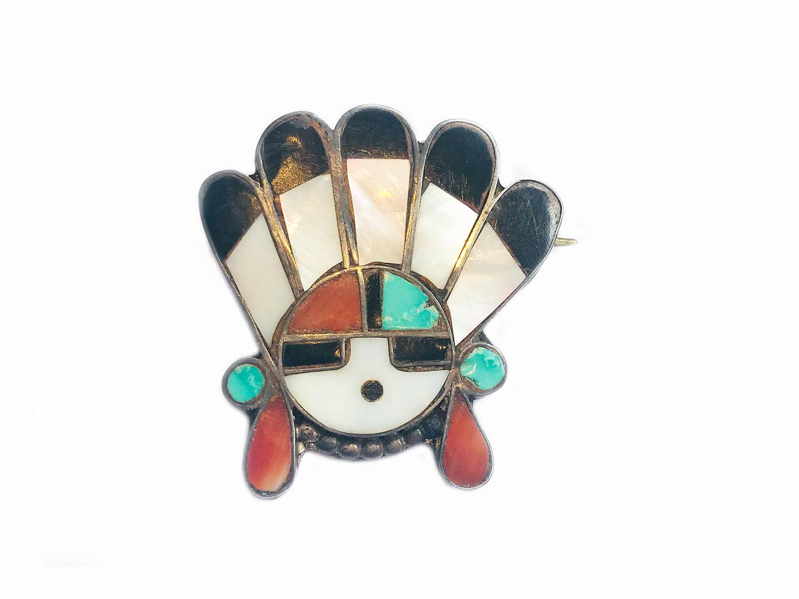 Zuni Inlay Sun Face Pin