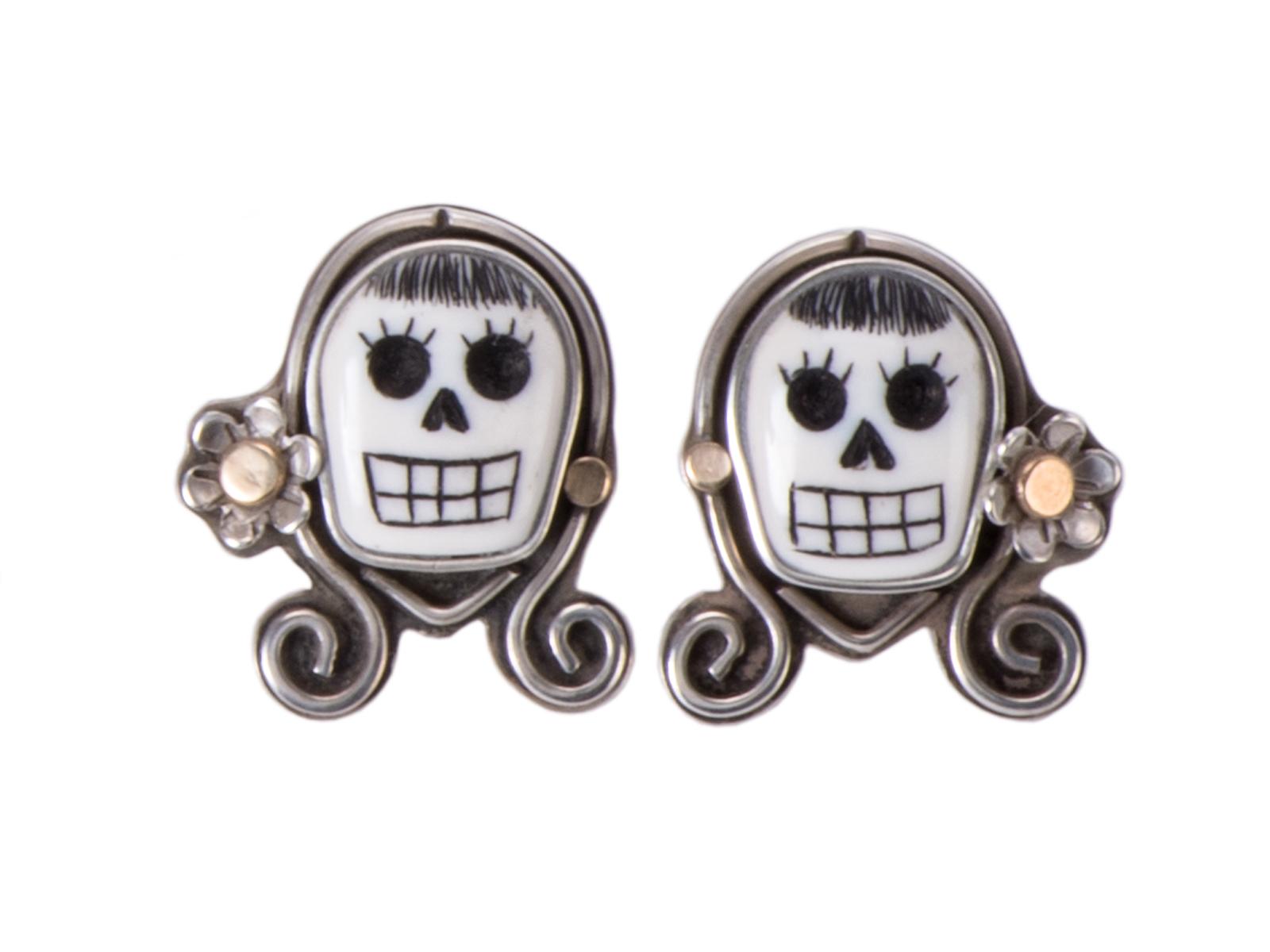 Sterling Silver Scrimshaw Earrings