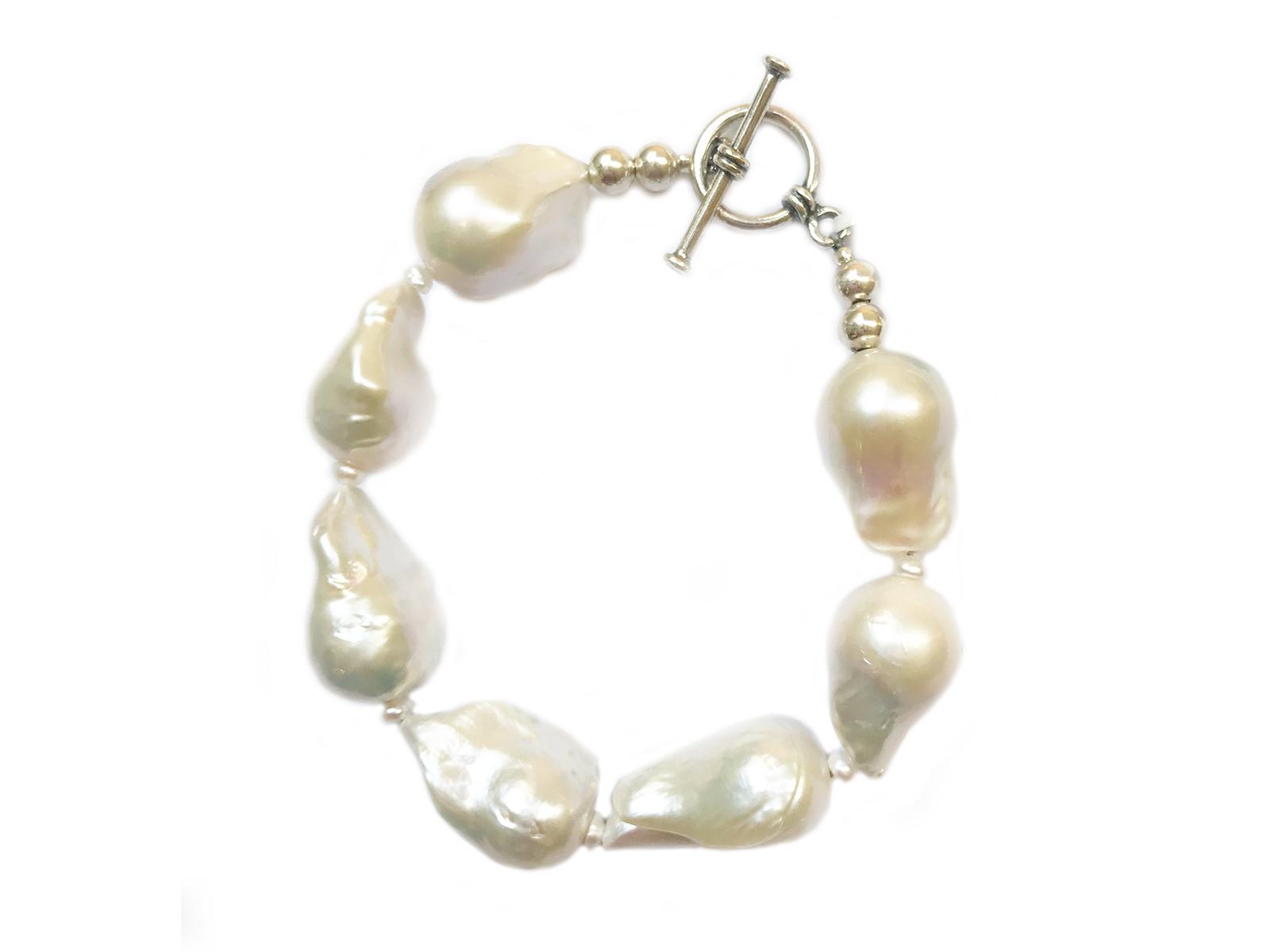 White Baroque Sterling Silver Bracelet