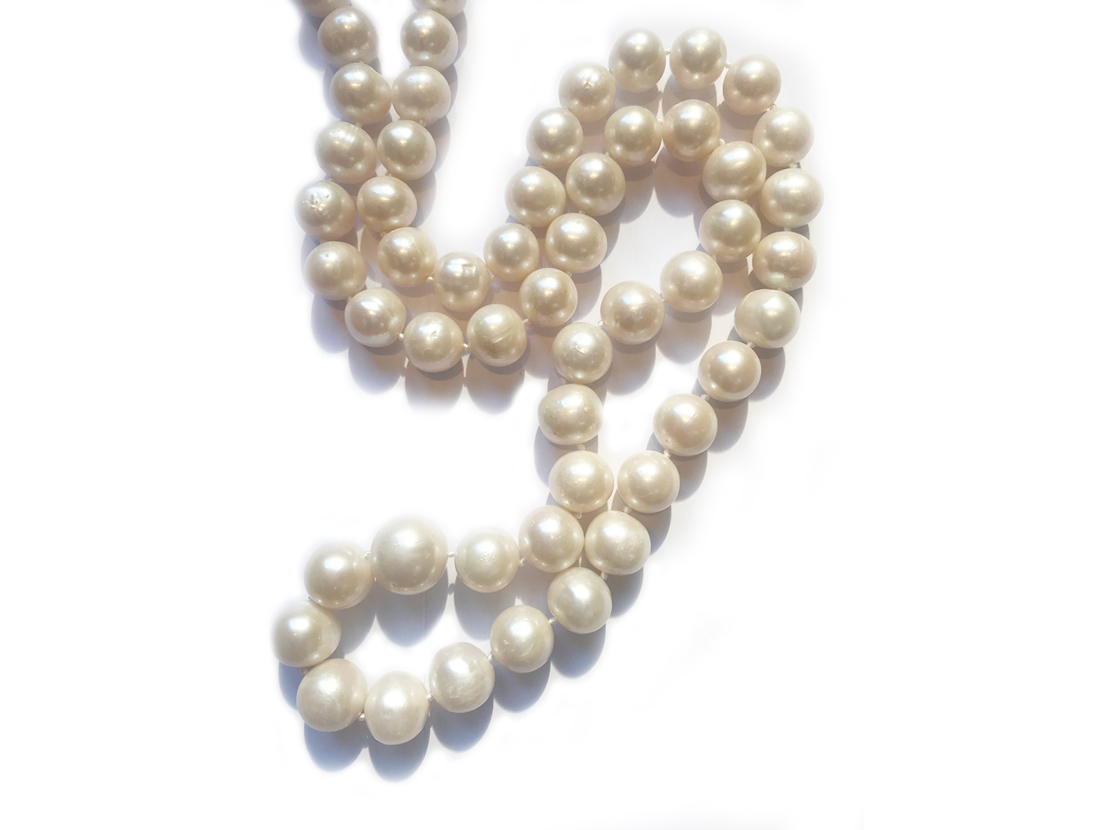 Long White Round Pearl Strand